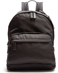 Prada - All Designer Products - Zip-pocket Leather-trimmed Backpack - Lyst
