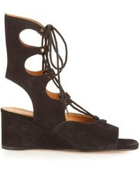 Chloé Foster Lace-up Wedge Sandals - Brown