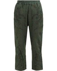 By Walid Reyzi Floral Embroidered Linen Trousers - Green