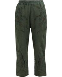By Walid Reyzi Floral-embroidered Linen Trousers - Green