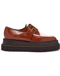 N°21 - Raised Sole Monk Strap Leather Shoes - Lyst