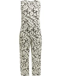 Pleats Please Issey Miyake Abstract Dash-print Pleated Jumpsuit - White