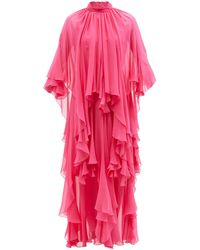 Gucci Layered Silk-georgette Gown - Pink
