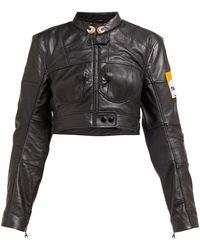 Marine Serre Cropped Upcycled-leather Jacket - Black
