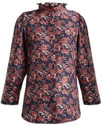 Apiece Apart - Marijn Floral Print Silk Blouse - Lyst