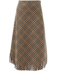 Sara Lanzi Checked Brushed Wool-blend Skirt - Natural