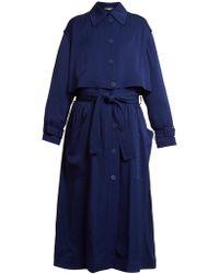 Stella McCartney Caban Elasticated Waist Crepe Trench Coat - Blue