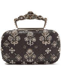 Alexander McQueen - Jewelled Top Handle Leather Clutch Bag - Lyst