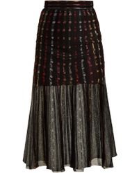 c8b7fef8e68b27 Alexander McQueen - Metallic Knit Pleated Midi Skirt - Lyst