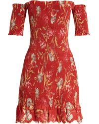 Zimmermann Corsair Iris Shirred Linen And Cotton Blend Dress