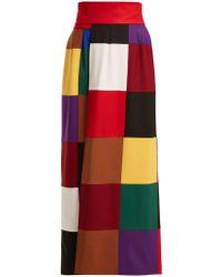 Sara Battaglia - Colour Block Wrap Around Stretch Wool Skirt - Lyst