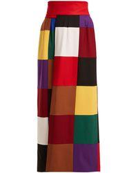 Sara Battaglia Colour-block Wrap-around Stretch-wool Skirt - Red
