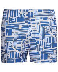 Frescobol Carioca Linear-print Swim Shorts - Blue
