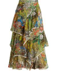 Peter Pilotto | Asymmetric Floral-print Silk-georgette Skirt | Lyst