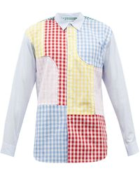 Comme des Garçons Comme Des Garçons Shirt パッチワーク チェック コットンポプリンシャツ - マルチカラー