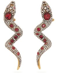 Gucci Crystal-embellished Snake Clip Earrings - Multicolour