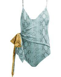 Stella McCartney Timeless Snake-print Wrap Swimsuit - Blue