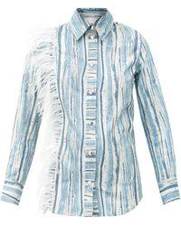 Thebe Magugu Chemise coton motif denim déchiré ornements plumes - Bleu