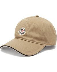 Moncler Logo Patch Cotton Baseball Cap - Natural