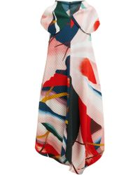 Issey Miyake - Long Bloom Pleats Mockneck Shift Dress - Lyst