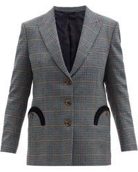Blazé Milano Cool Breeze Gun-club Check Wool-blend Blazer - Blue