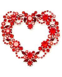 ART SCHOOL Heart Wreath Crystal-embellished Brooch - Multicolour