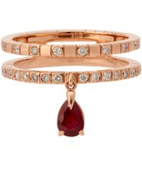 Diane Kordas Spectrum 18kt Rose Gold, Diamond & Ruby Ring - Red
