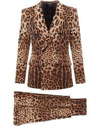 Dolce & Gabbana レオパード ウールダブルスーツ - ブラウン