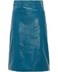 Dodo Bar Or ロリッタ クロコダイルパターンレザー スカート - ブルー