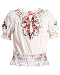 Muzungu Sisters - Dora Embroidered Cotton Top - Lyst