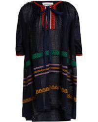 Sonia Rykiel | Tie-neck Embroidered Linen-blend Dress | Lyst