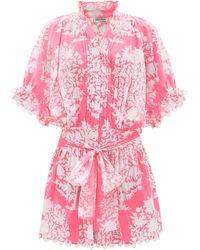 Juliet Dunn Tie-waist Palladio Block-print Cotton Dress - Pink