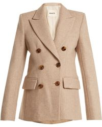 Khaite Darla Peak-lapel Double-breasted Wool Jacket - Natural