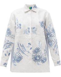 Rianna + Nina Vintage Kendima Floral-embroidered Cotton Shirt - Blue