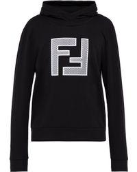 Fendi - Sweat-shirt en coton à capuche et logo en résille - Lyst