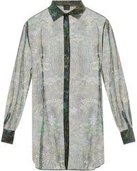 Carine Gilson フローラル シルクシフォン パジャマシャツ - グリーン