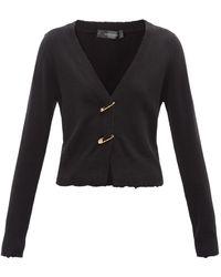Versace セーフティピン カシミアウールカーディガン - ブラック