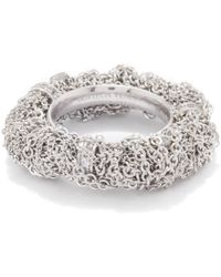 Bottega Veneta Tangle Crystal-embellished Sterling-silver Ring - Metallic