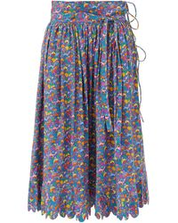 Horror Vacui Lydia Mushroom-print Cotton Midi Skirt - Blue