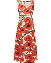 Gucci Flying Poppies-print Silk-duchess Midi Dress - Red