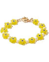 Eliou Éliou Poppi Floral Millefiori & Pearl Bracelet - Yellow