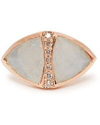 Jacquie Aiche - - Diamond, Moonstone & Rose Gold Ring - Womens - White - Lyst
