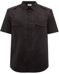 Saint Laurent ポルカドット コットンキャンバスシャツ - ブラック
