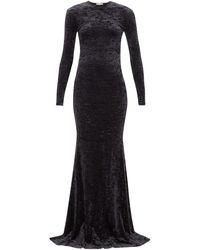 Balenciaga フィッシュテールヘム クラッシュベルベットドレス - ブラック