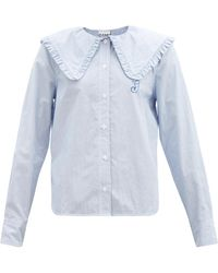Ganni Peter-pan Collar Striped Cotton Blouse - Blue