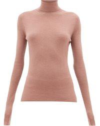 Raey Roll-neck Fine-rib Cashmere Jumper - Pink