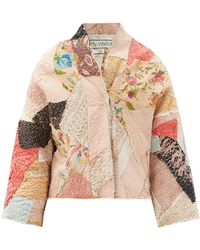 By Walid Cassie Floral-embroidered Patchwork Silk Jacket - Pink