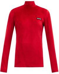 Miu Miu Haut manches longues en chenille à appliqué logo - Rouge