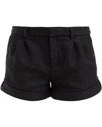 Saint Laurent Turned Up Cuff Sequinned Tweed Shorts - Black