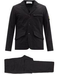 Stone Island Tela Organic-cotton Blend Canvas Suit - Multicolour